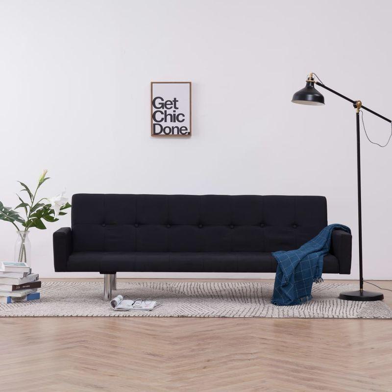 Hommoo Schlafsofa mit Armlehnen Schwarz Polyester VD23508