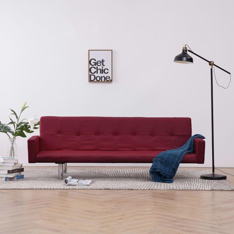 Schlafsofa mit Armlehnen Weinrot Polyester VD23510 - Hommoo