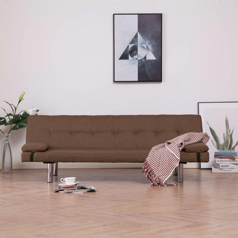 Schlafsofa mit zwei Kissen Braun Polyester VD23471 - Hommoo