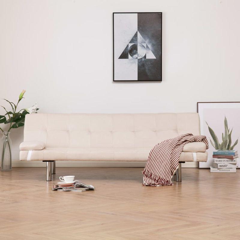 Schlafsofa mit zwei Kissen Creme Polyester VD23470 - Hommoo