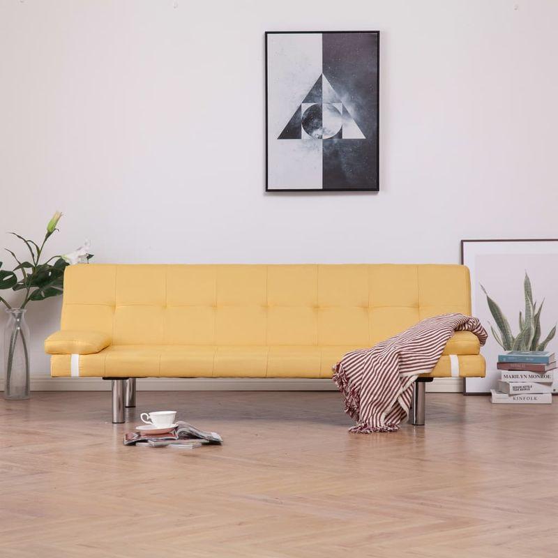 Schlafsofa mit zwei Kissen Gelb Polyester VD23475 - Hommoo