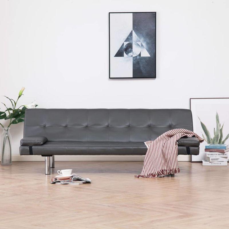 Schlafsofa mit zwei Kissen Grau Kunstleder VD23466 - Hommoo