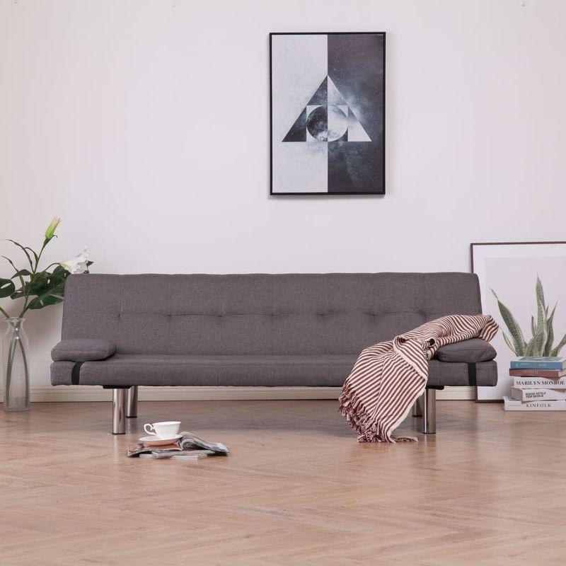 Schlafsofa mit zwei Kissen Taupe Polyester VD23477 - Hommoo