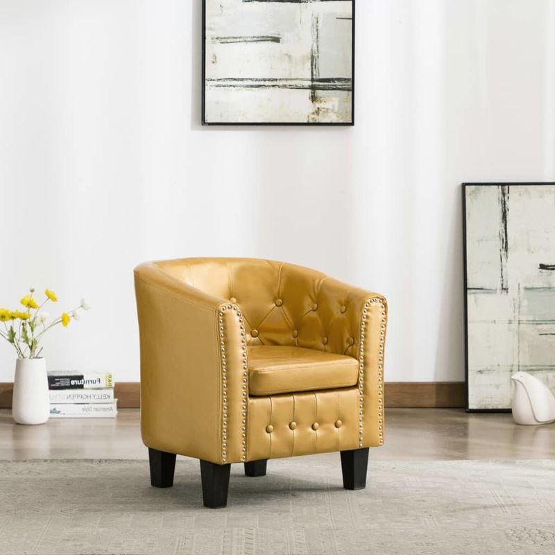 Sessel Glänzendes Golden Kunstleder VD13908 - Hommoo