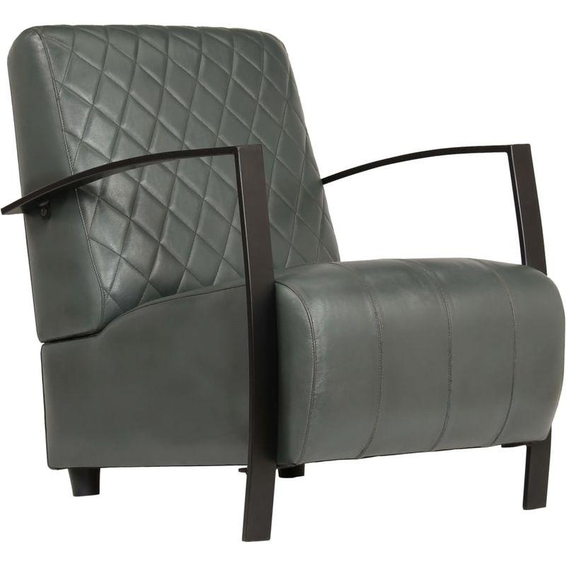 Hommoo Sessel Grau Echtleder VD12319