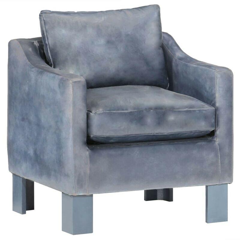 Hommoo Sessel Grau Echtleder VD37026