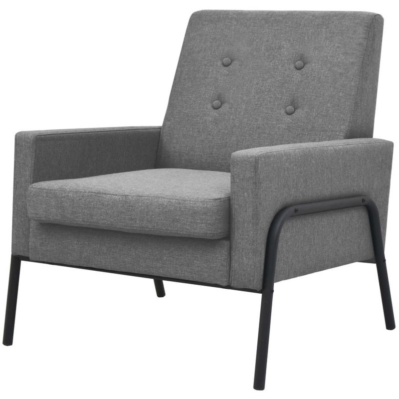 Hommoo Sessel Hellgrau Stahl und Stoff VD11507