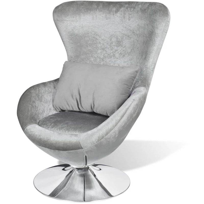 Sessel in Ei-Form Silbern VD08594 - Hommoo