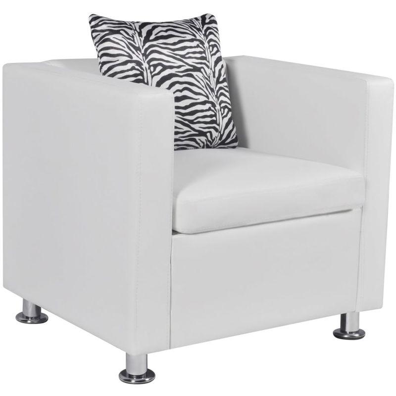 Sessel Kunstleder Weiß VD09138 - Hommoo