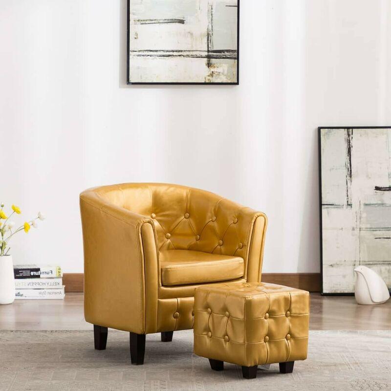 Sessel mit Fußhocker Golden Kunstleder VD35717 - Hommoo