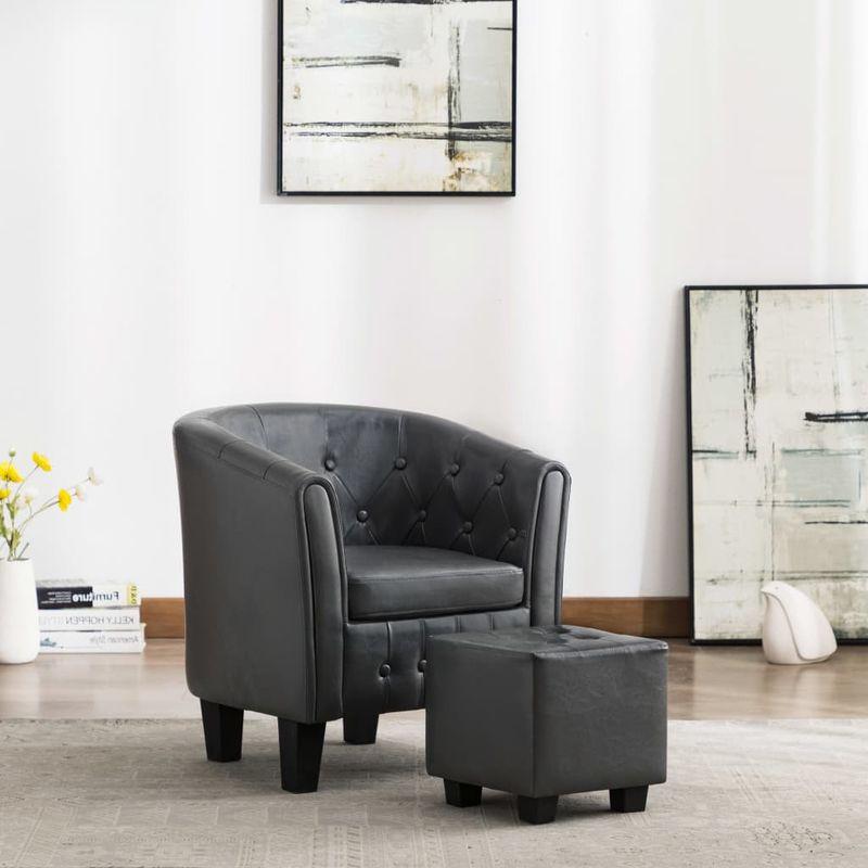 Sessel mit Fußhocker Grau Kunstleder VD13885 - Hommoo
