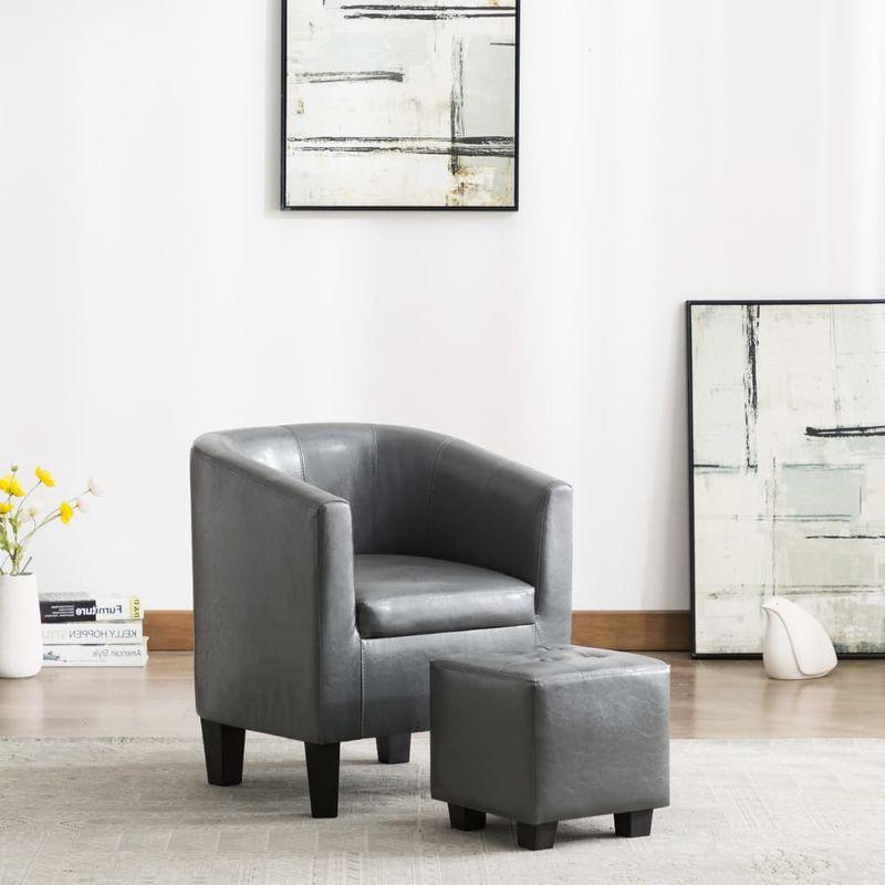 Sessel mit Fußhocker Grau Kunstleder VD13897 - Hommoo