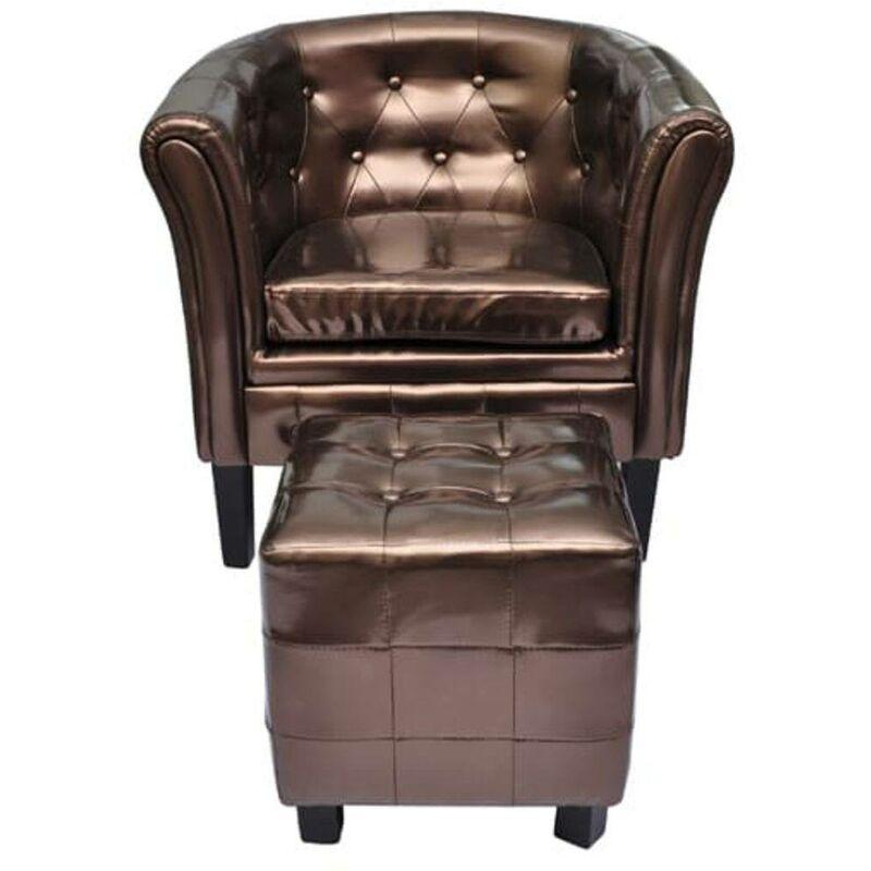 Sessel mit Fußhocker Kunstleder Braun VD30959 - Hommoo