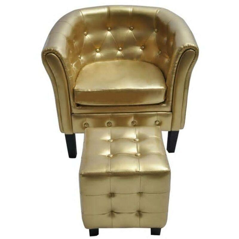 Sessel mit Fußhocker Kunstleder Golden VD30965 - Hommoo