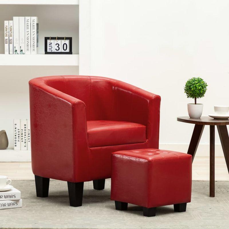 Sessel mit Fußhocker Rot Kunstleder VD13901 - Hommoo