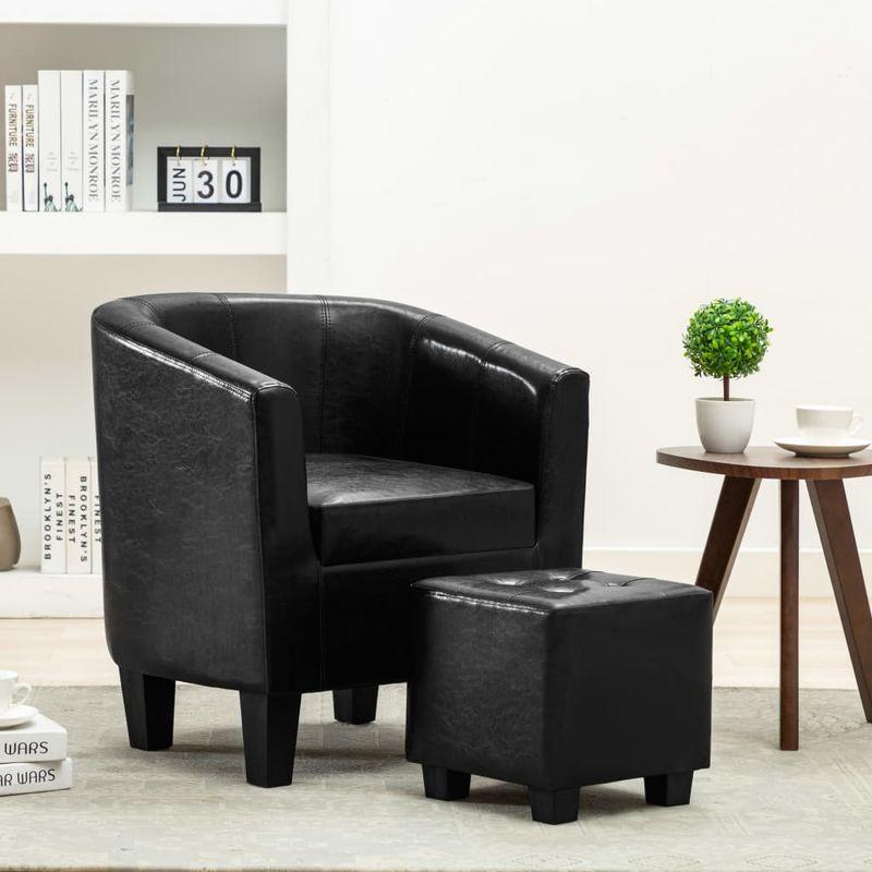 Sessel mit Fußhocker Schwarz Kunstleder VD13896 - Hommoo