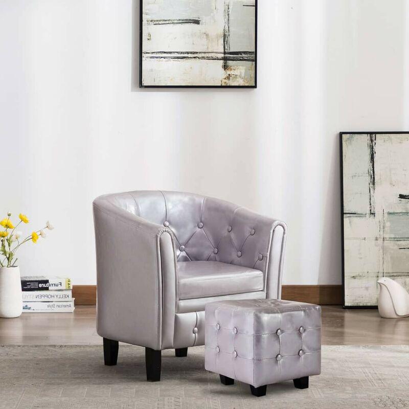 Sessel mit Fußhocker Silbern Kunstleder VD35713 - Hommoo