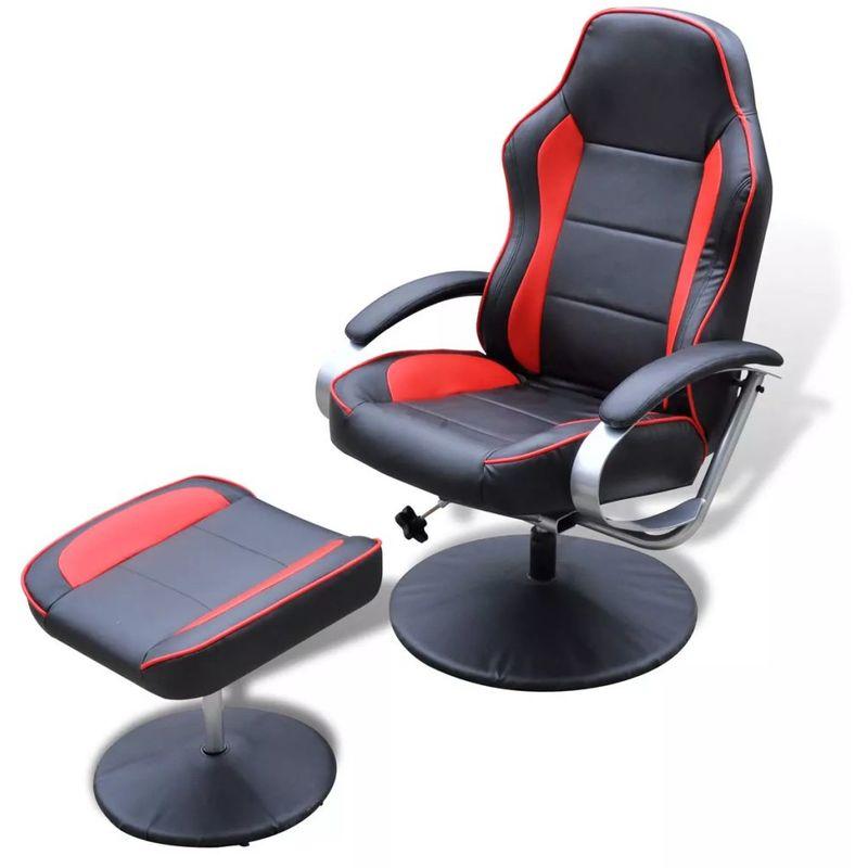 Sessel mit Fußhocker Verstellbar Kunstleder Schwarz/Rot VD08504 - Hommoo