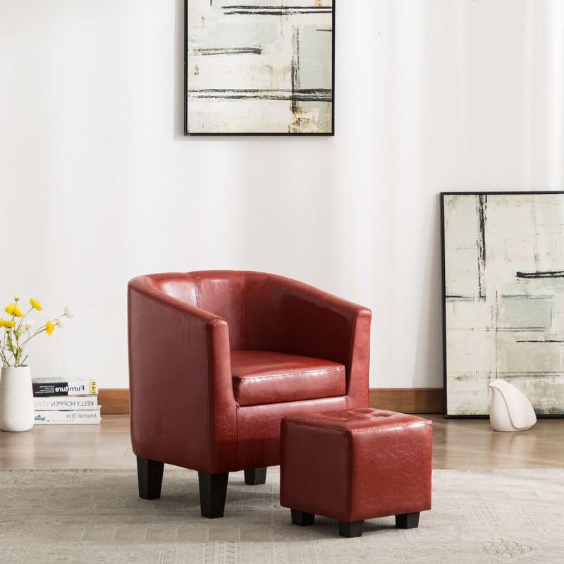 Sessel mit Fußhocker Weinrot Kunstleder VD13900 - Hommoo