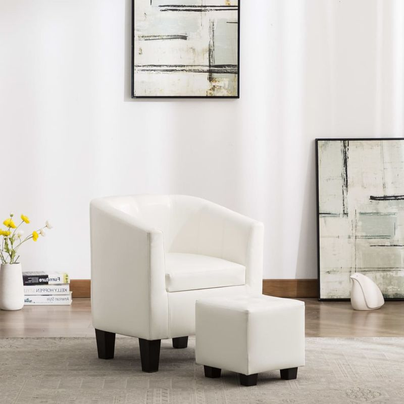Sessel mit Fußhocker Weiß Kunstleder VD13899 - Hommoo