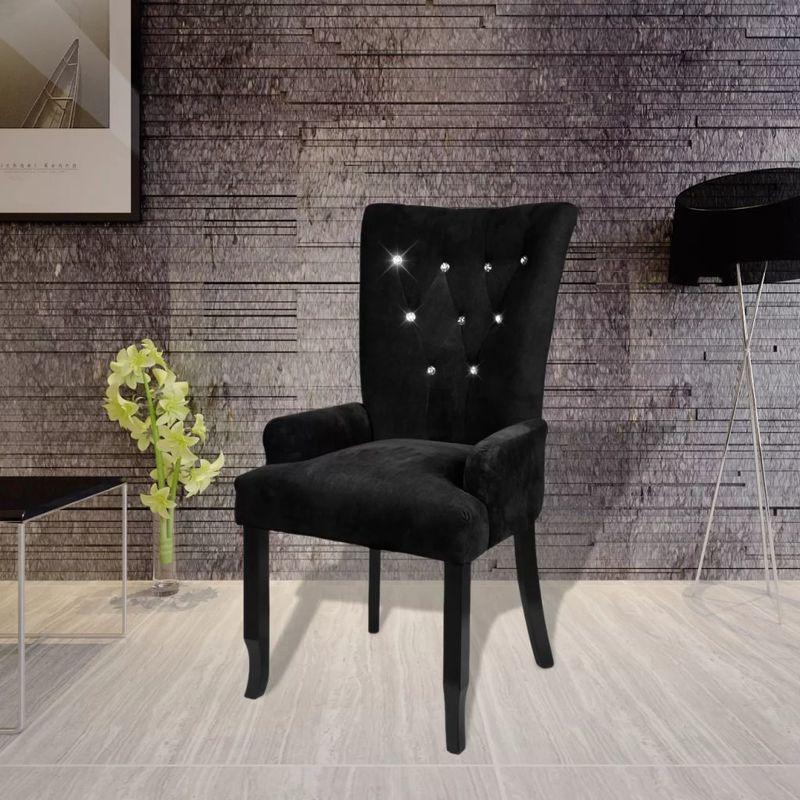 Sessel mit Holzrahmen Samt Schwarz VD08335 - Hommoo