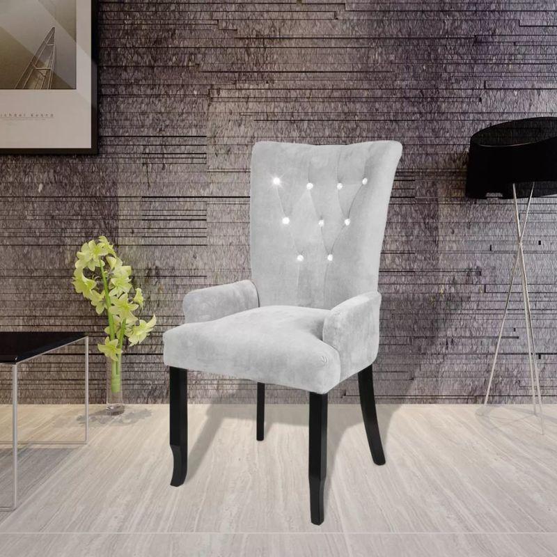 Sessel mit Holzrahmen Samt-Silbern VD08336 - Hommoo