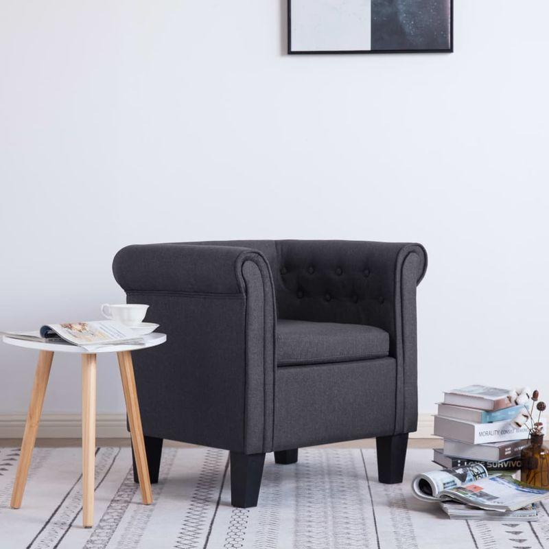 Hommoo Sessel mit Kissen Dunkelgrau Stoff VD22900