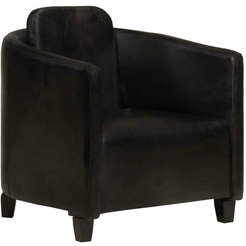 Hommoo Sessel Schwarz Echtleder VD36263