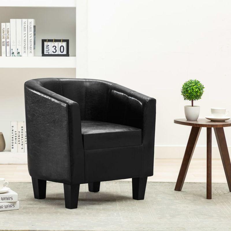 Hommoo Sessel Schwarz Kunstleder VD13890