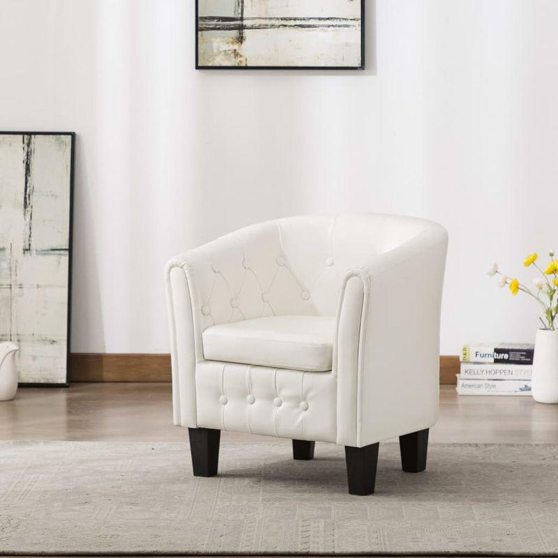 Sessel Weiß Kunstleder VD13881 - Hommoo