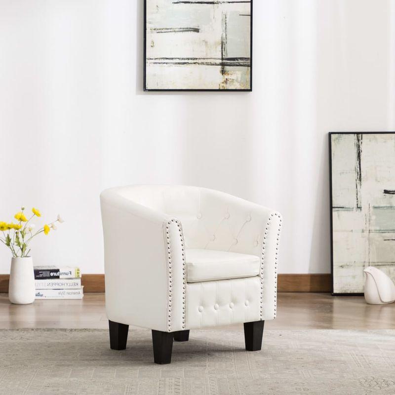 Hommoo Sessel Weiß Kunstleder VD13906