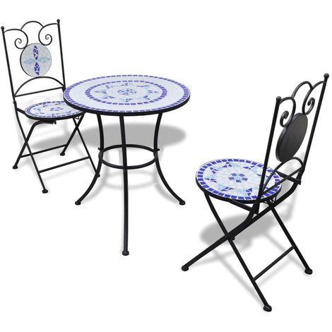 Hommoo Set de mesa y sillas de jardín 3 pzas con mosaico azul y blanco