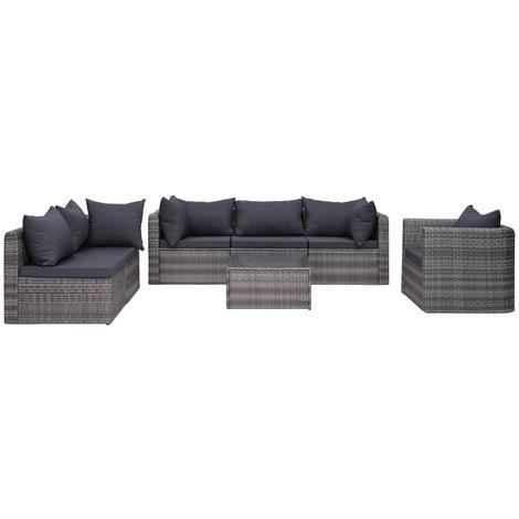 Hommoo Set de muebles de jardín y cojines 7 pzas ratán sintético gris