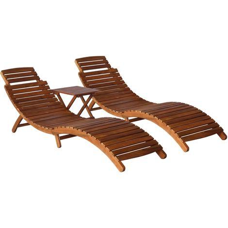 Hommoo Set de tumbonas con mesita 3 piezas madera maciza de acacia