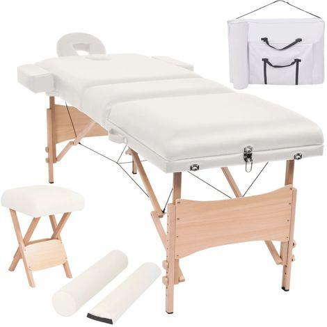 Hommoo Set mesa plegable de masaje y taburete 10 cm de espesor blanco