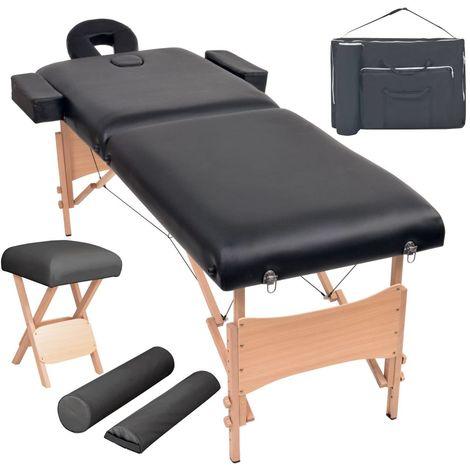 Hommoo Set mesa plegable masaje y taburete 2 zonas 10 cm grosor negro