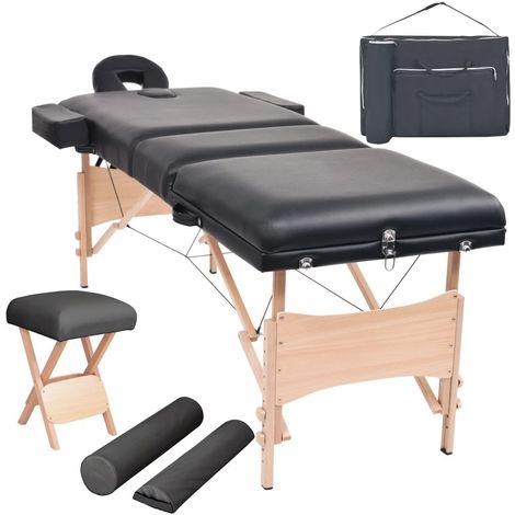 Hommoo Set mesa plegable masaje y taburete 3 zonas 10 cm grosor negro