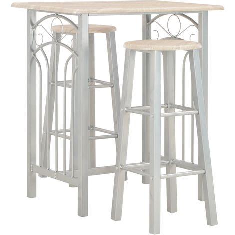 Hommoo Set mesa y sillas altas de cocina 3 piezas madera y acero