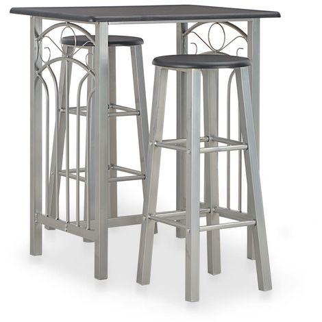 Hommoo Set mesa y sillas altas de cocina 3 piezas madera y acero negro