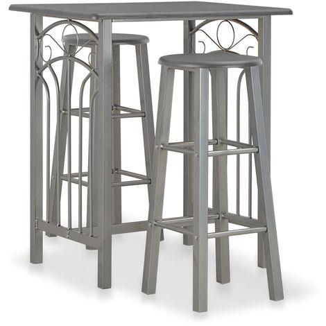 Hommoo Set mesa y sillas altas de cocina 3 pzas madera acero antracita