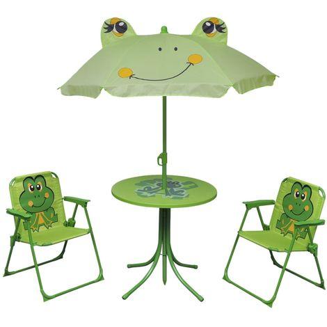 Hommoo Set mesa y sillas de jardín infantil 3 pzas con sombrilla verde