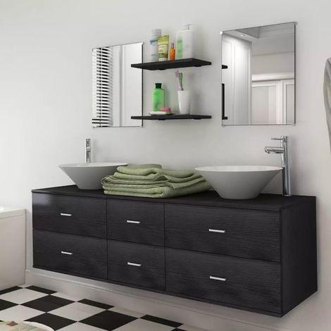 Hommoo Set muebles para baño con lavabo y grifo 9 uds Negro
