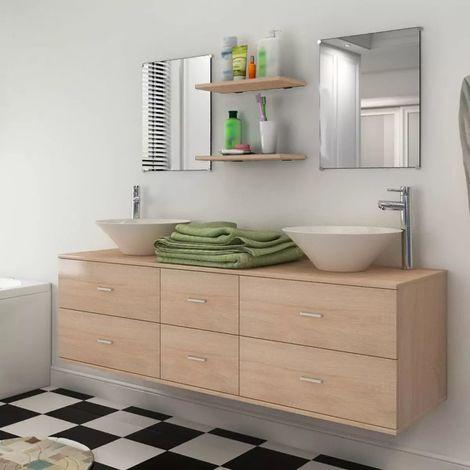 Hommoo Set muebles para baño con lavabo y grifos 9 uds Beis