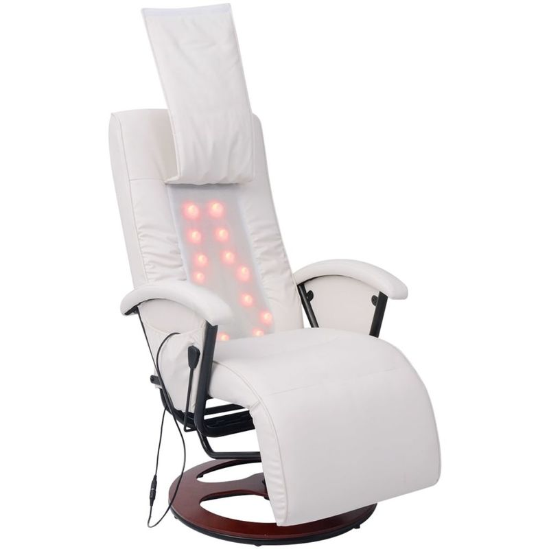 Hommoo Shiatsu Massagesessel Halb PU Weiß VD09333