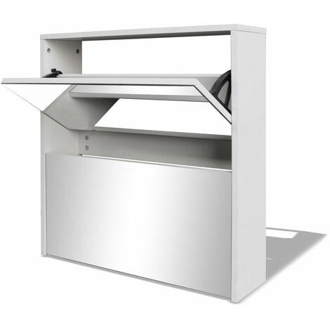 Hommoo Shoe Cabinet 2-Layer Mirror White 63x17x67 cm QAH09612