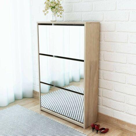 Hommoo Shoe Cabinet 3-Layer Mirror Oak 63x17x102.5 cm