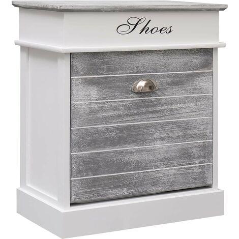 Hommoo Shoe Cabinet Grey 50x28x58 cm Paulownia Wood