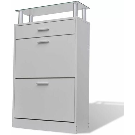 Hommoo Shoe Cabinet with a Drawer and a Top Glass Shelf Wood White QAH08632