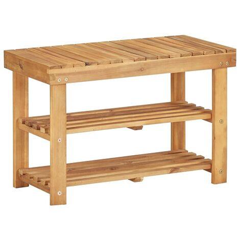 Hommoo Shoe Rack 70x32x46 cm Solid Acacia Wood VD29908