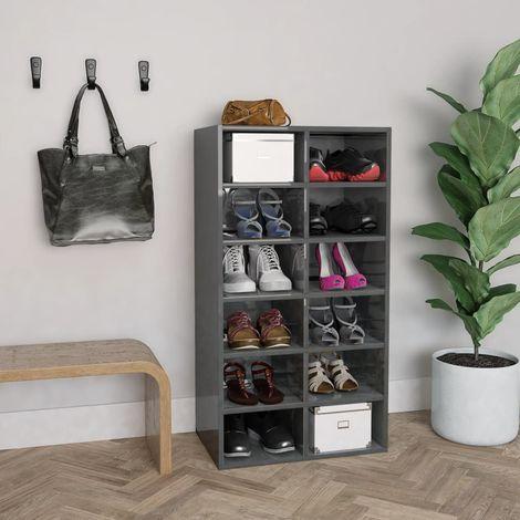 Hommoo Shoe Rack High Gloss Grey 54x34x100 cm Chipboard